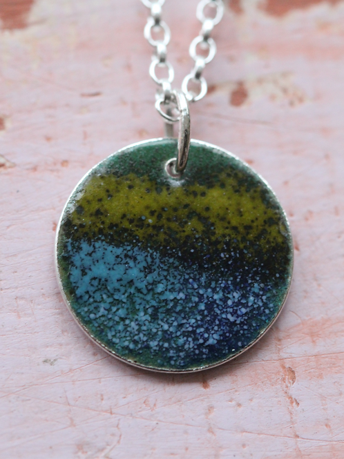 Silver Enamel Necklace - Deep Yellow Speckled Blue