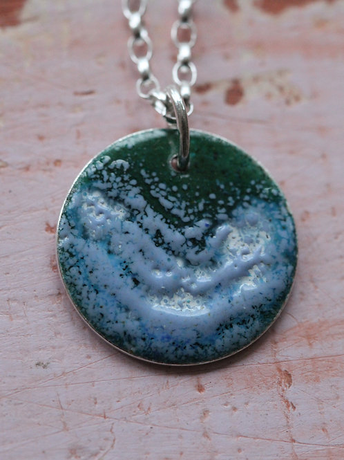 Silver Enamel Necklace - Green & Blue Splash