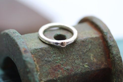 CHUNKY SILVER & 9CT GOLD 'SUN' RING