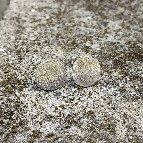 HAMMERED SILVER ENAMEL STUDS - RUSTIC GOLD
