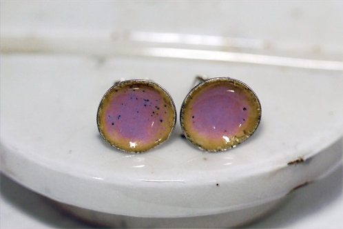 Silver Enamel Studs - Deep Pink and Sand Yellow