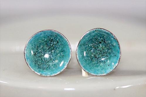 Silver Enamel Studs - Speckled Aqua Green