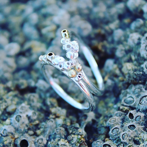 SILVER & GOLD BARNACLE STACKING RING