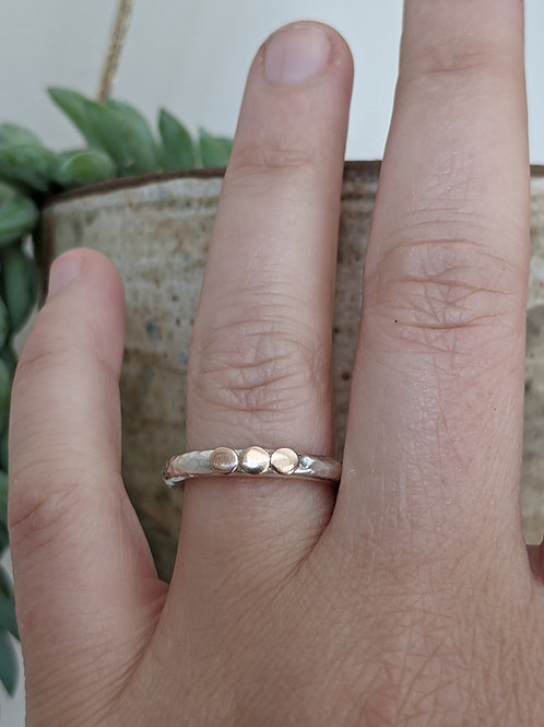 CHUNKY SILVER & 9CT GOLD TRIPLE 'SUN' RING