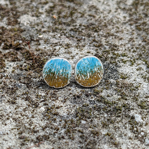 HAMMERED SILVER ENAMEL STUDS - BLUE & YELLOW WASH