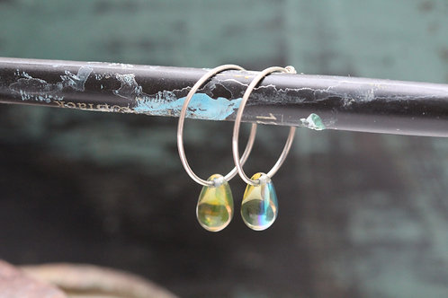 Silver Mermaids Tears Hand Made Sterling & Sea Green Czech Glass Hoop Earrings