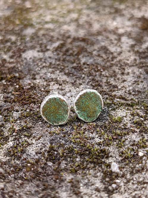 HAMMERED SILVER ENAMEL STUDS - RUSTIC MOSSY GREEN & YELLOW