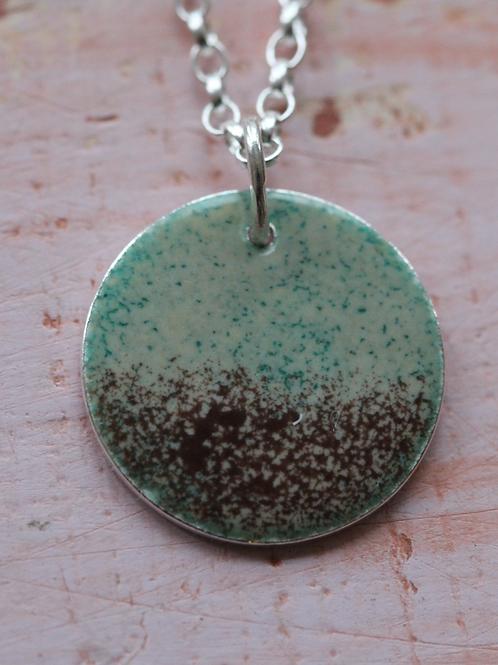 Silver Enamel Necklace - Misty Haze