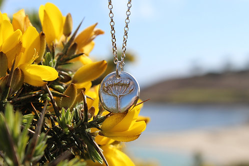 Silver Single Agapanthus Pendant and Necklace.