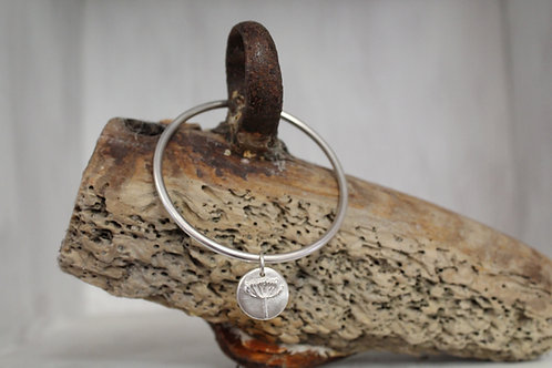 Solid Silver Agapanthus Flower Bangle