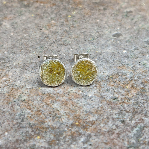 HAMMERED SILVER ENAMEL STUDS - RUSTIC YELLOW
