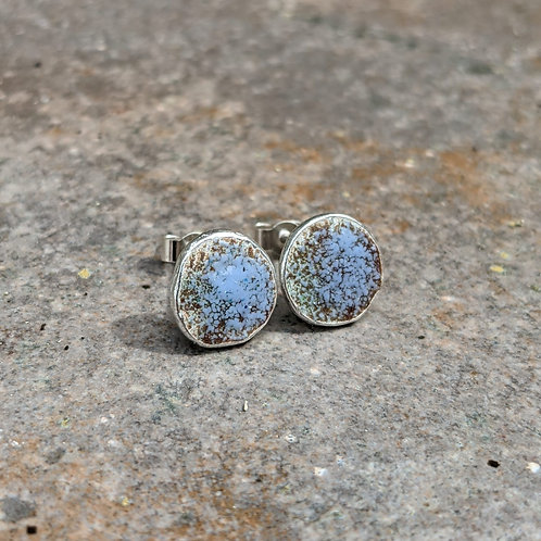 HAMMERED SILVER ENAMEL STUDS - RUSTIC BLUE FINISH