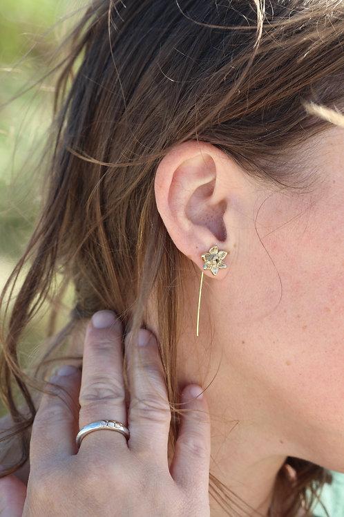 9ct Gold Daffodil Narcissi Drop Earrings.