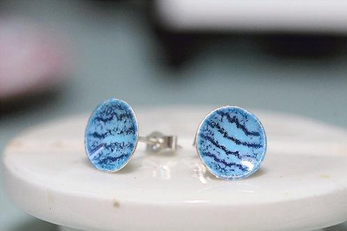 Silver Enamel Studs - Sea Blue Ocean Waves