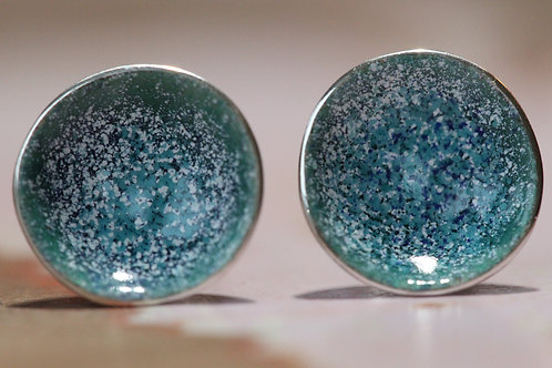 Silver Enamel Studs - Turquoise Speckled Whites