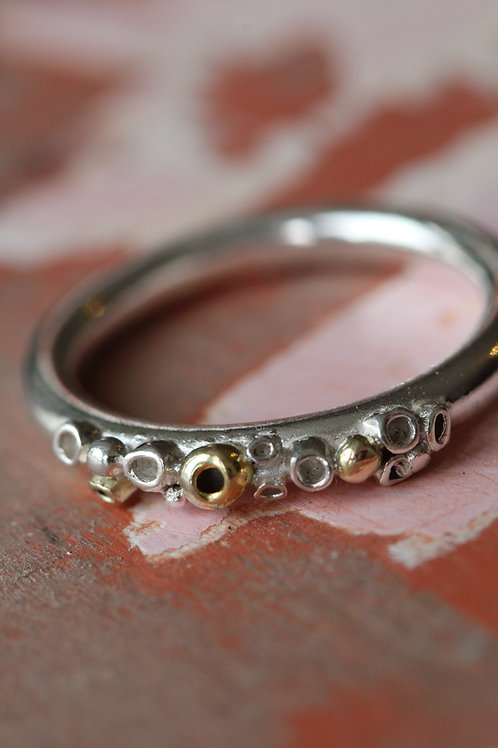 Chunky Silver and Gold Barnacle Ring