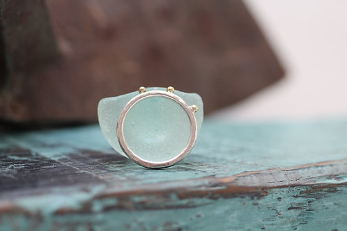 Fine Hammered Silver & 9ct Gold 'Star' Ring