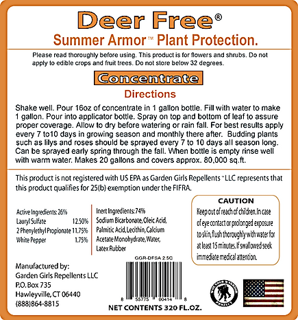 Deer Free Summer Armor by Garden Girls Repellents LLC.