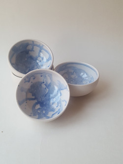 Small blue and white bowls