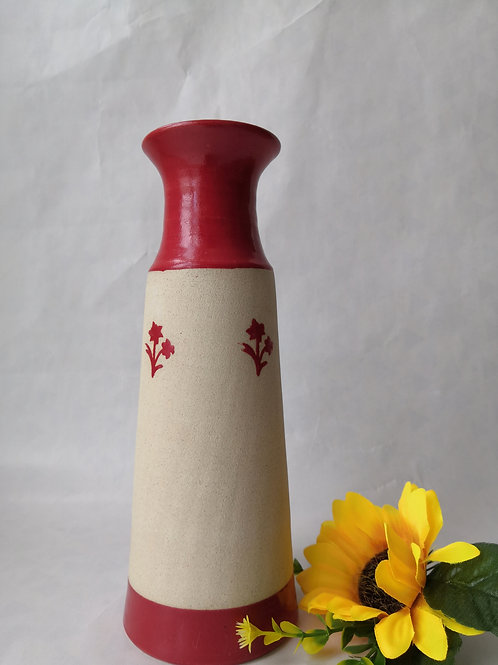 Ceramic wheelthrown vase/bottle with red flowers