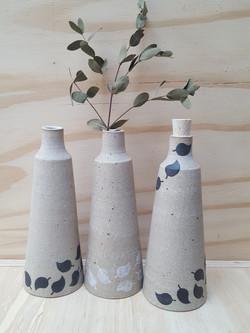 Falling leaf vases, bottles