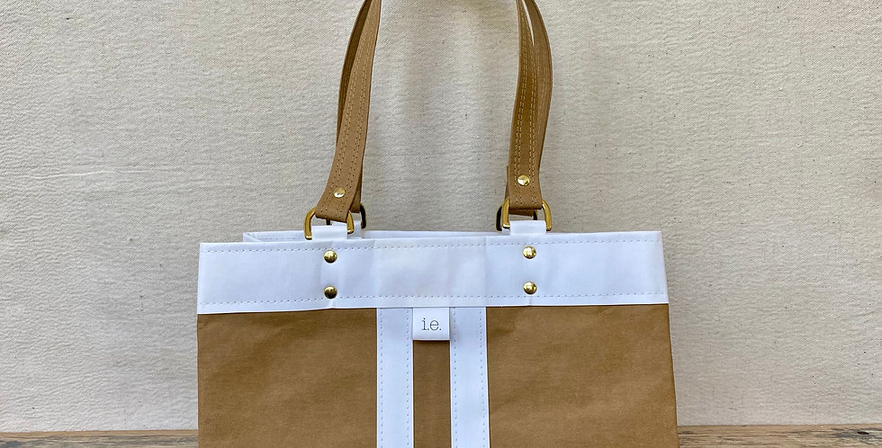 natural with white trim d-ring shopper