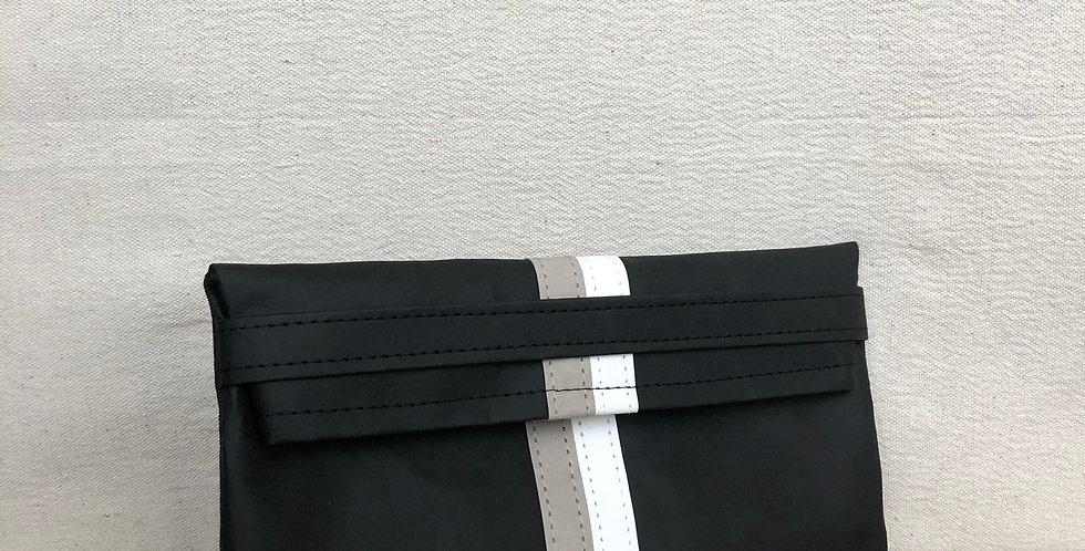 black clutch with grey & white racer stripes