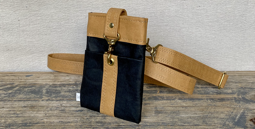 black with natural trim crossbody