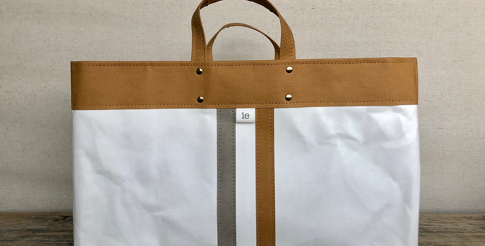 white tote with natural trim and gray & natural railroad stripes