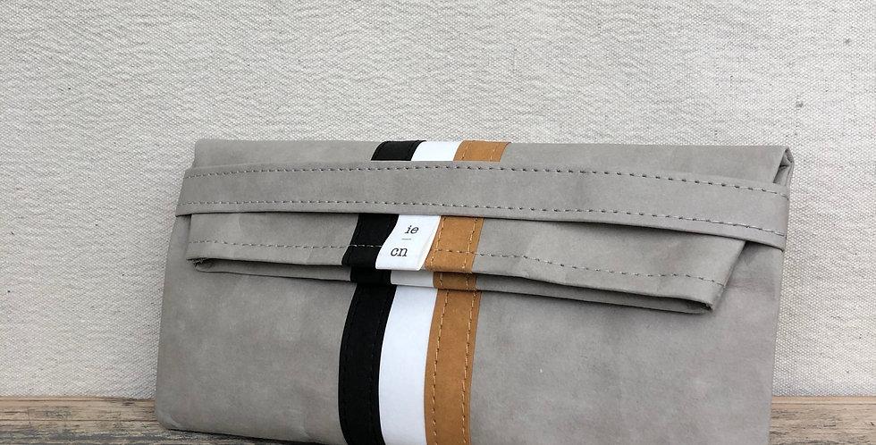 stone gray clutch with triple stripes
