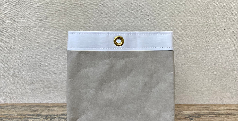grey with white trim 8x8 storage cube