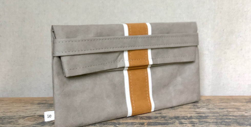 gray clutch with natural & white surfer stripes