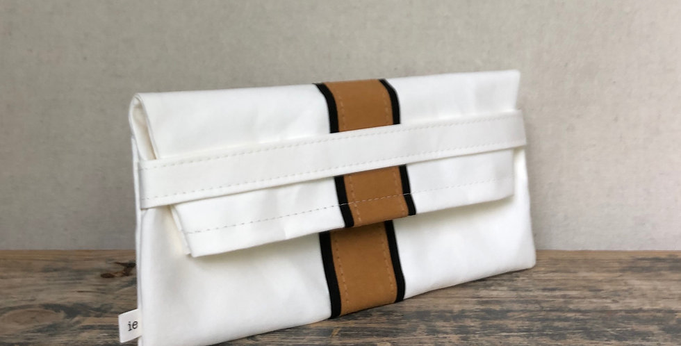 white clutch with natural & black surfer stripes