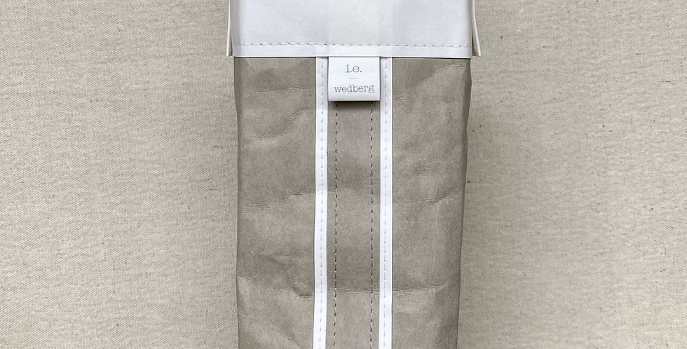 grey cocktail tote with white trim