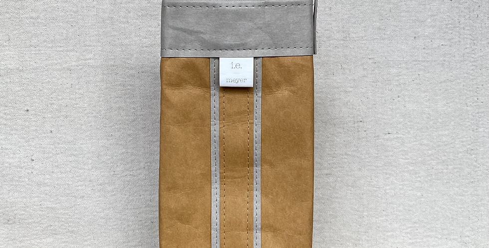 natural cocktail tote with grey trim
