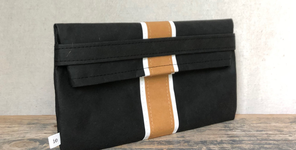 black clutch with natural & white surfer stripes