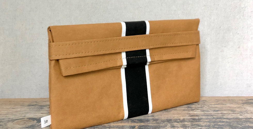 natural clutch with black & white surfer stripes