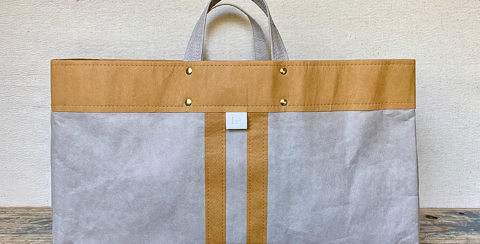grey beach tote with natural trim and natural railroad stripes