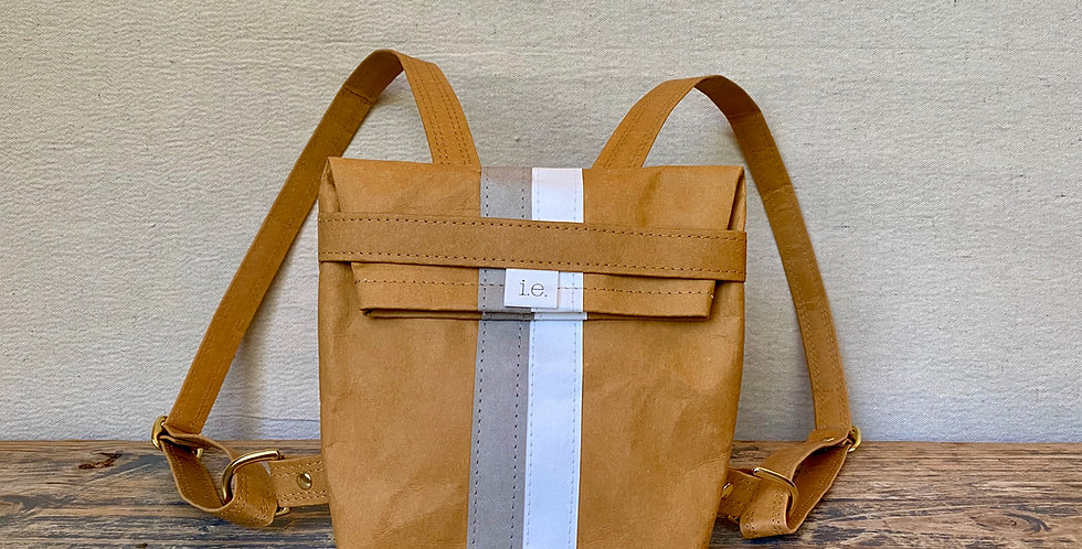 natural mini backpack with grey & white racer stripes