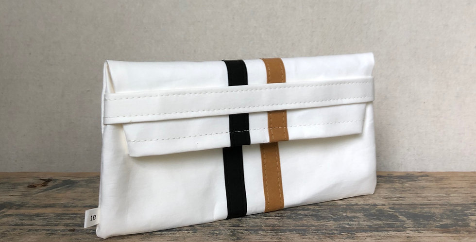 white clutch with black & natural railroad stripes