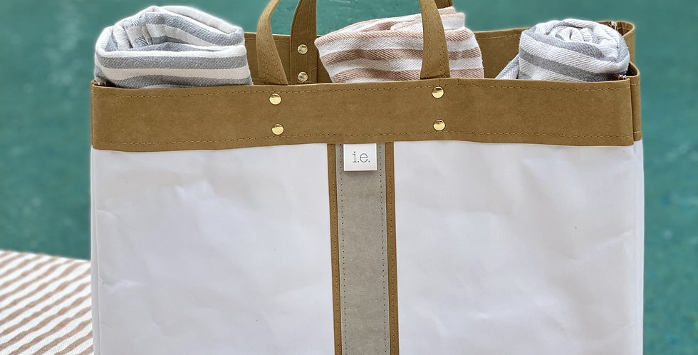 white beach tote with natural trim and  surfer stripe