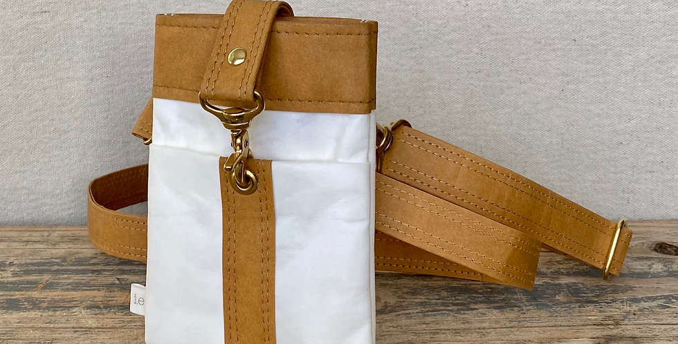 white with natural trim crossbody
