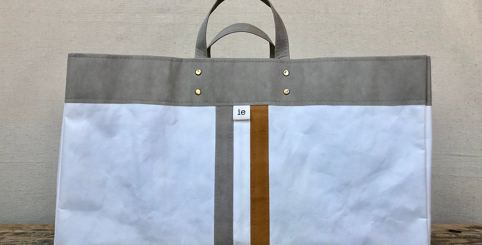 white beach tote with grey trim and grey & natural railroad stripes