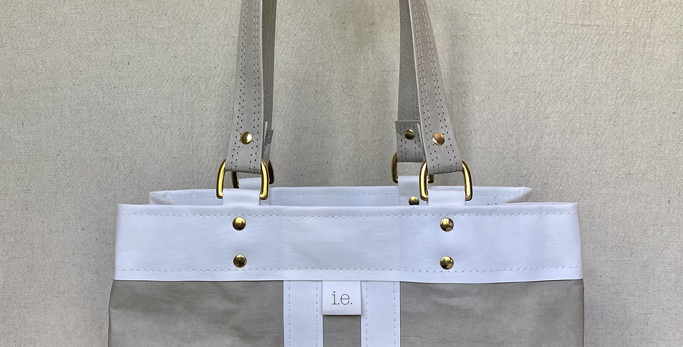 grey with white trim d-ring shopper