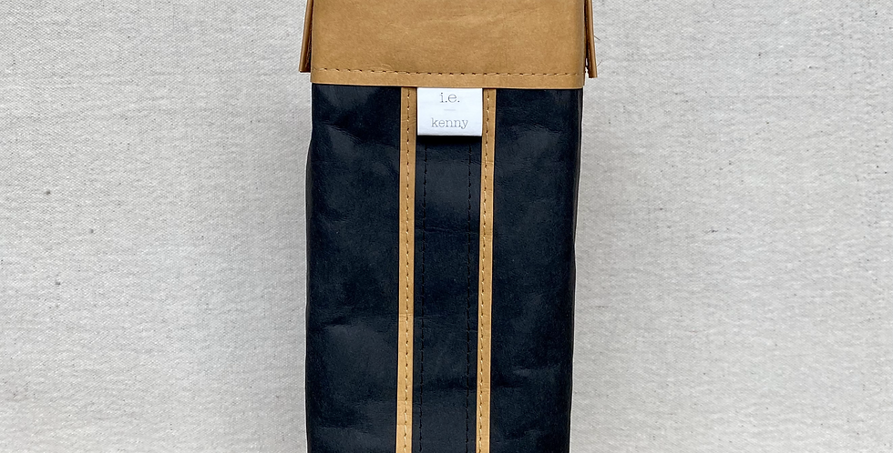 black cocktail tote with natural trim