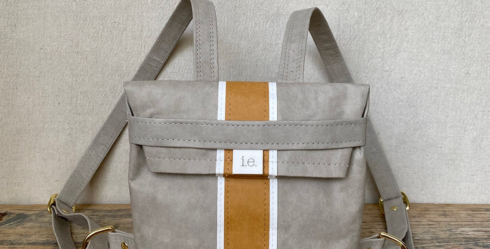 grey mini backpack with natural & white surfer stripes
