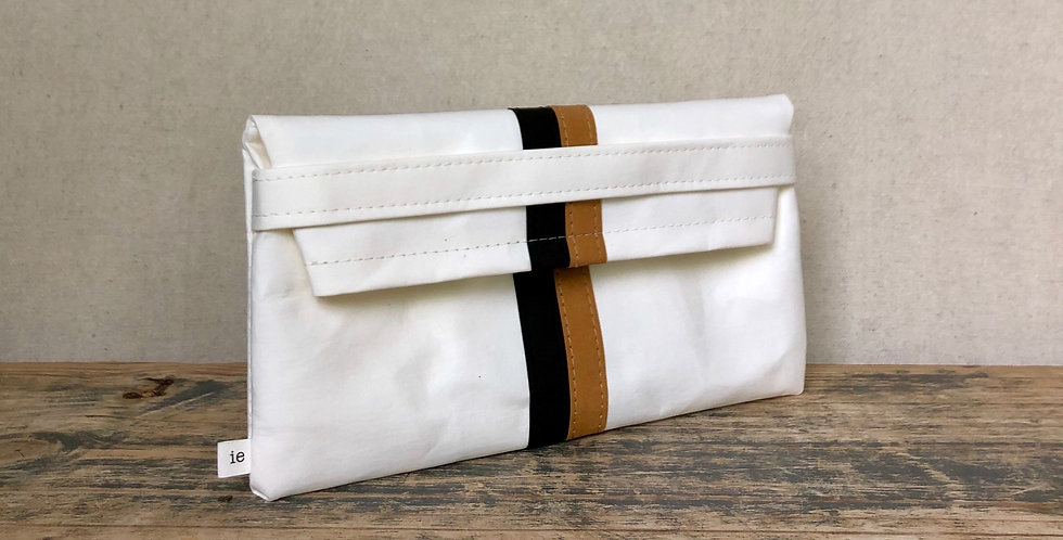 white clutch with black & natural racer stripes