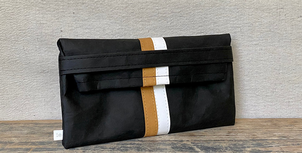 black clutch with natural & white racer stripes