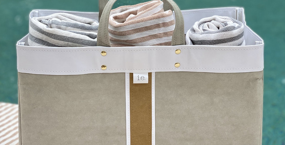 grey beach tote with natural trim and surfer stripe
