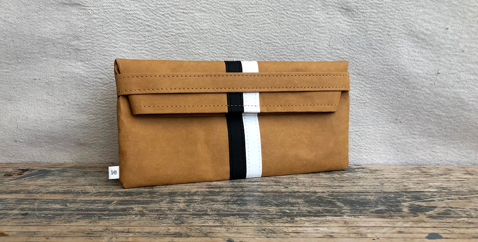 natural clutch with black & white racer stripes